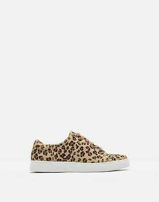 Joules Womens Solena Luxe Leather Cupsole Trainers in LEOPARD Size Adult 6