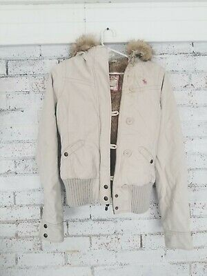 Abercrombie And Fitch Womens Jacket Coat White/khaki  Faux Fur kids girls xl