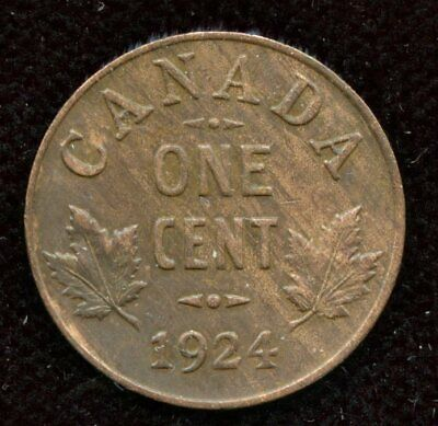 1924 Canada Small One Cent Coin with Obverse Lamination Error