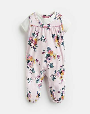 Joules Baby Olive Printed Jumpsuit Set in PINK MARL SKELWITH Size 6min9m