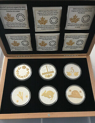 2015 Canada 5 Cent Nickel Legacy 1 Oz  9999 Silver Gilded 6 Coin Set $599.99