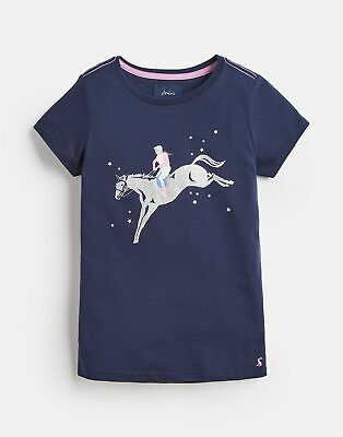 Joules Girls Official Burghley Horse Trials T Shirt in FRENCH NAVY Size 5yr