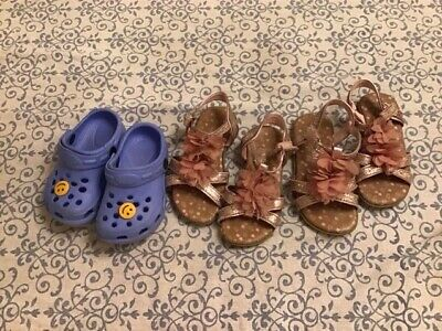 Summer girls shoes,size 7 small:blue croc style and 2x pink floral sandals, used