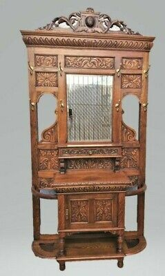 Antique Large Tall French Carved Oak HALL TREE STAND Renaissance / Gothic Style