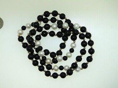 Beautiful 14Kt Yellow Gold Pearl & Black Onyx 28-Inch Necklace