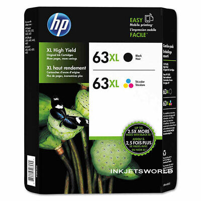 HP 63XL Combo Pack Black + Color GENUINE Ink Cartridges Retail Box OEM