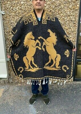 Mexican Poncho , Horse  , Blanket Sarape Gaban ,One Size, Black And Gold