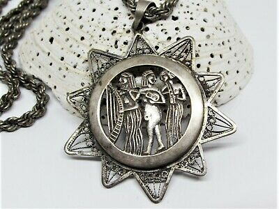 Antique Victorian Sterling Silver Egyptian Revival Pendant Brooch Chain Necklace