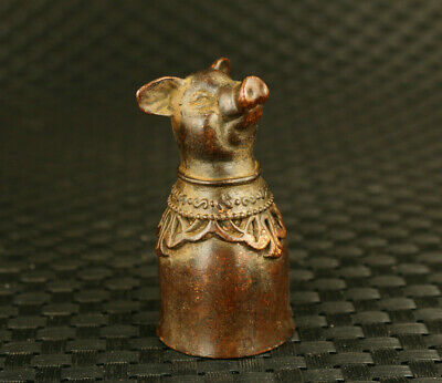 china copper hand casting luck pig head statue collectable wine glass decorate