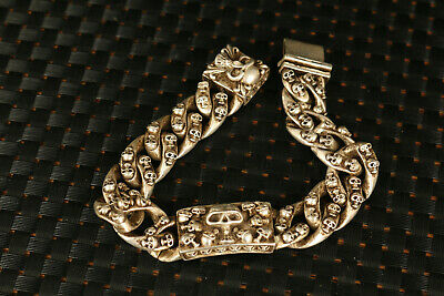 Rare Chinese old tibet silver hand carved skull cool bracelet gift