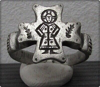 **  JESUS of NAZARETH  ** Ancient  Silver Byzantine Christianity Ring **AMAZING