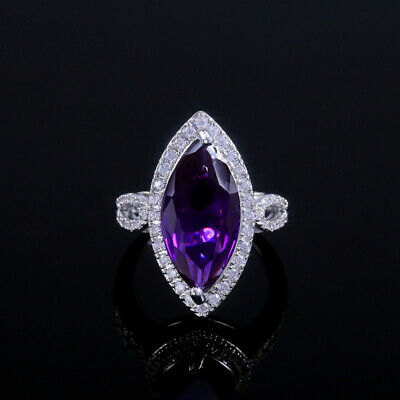 Gorgeous 925 Silver Wedding Rings for Women Marquise Cut Amethyst Ring Size 9