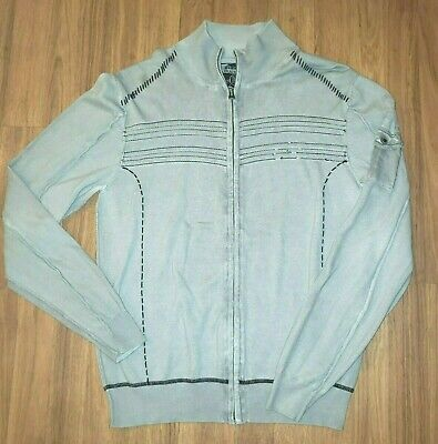 Buckle Black Label No 48 Gray Zip Up Sweater Jacket Distressed Large Slim Fit