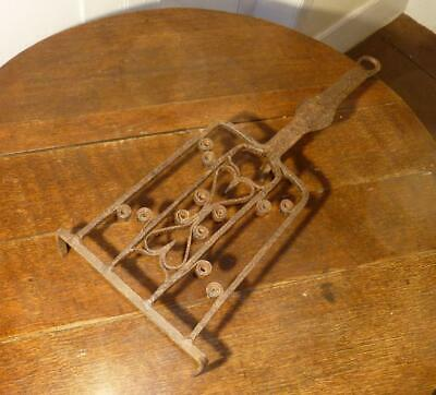 BEST Antique 18th C Wrought Iron Hearth Broiler Early Metalware Heart Folk Art