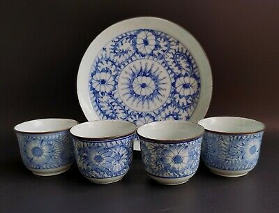 19th Antique Chinese teacup set blue and white porcelain Qing period