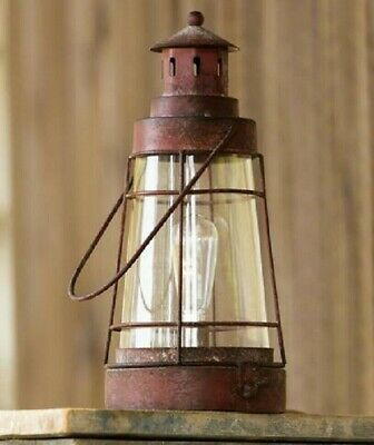 Primitive RUSTY RED LANTERN LIGHT Bulb Distressed Metal 6 hr Timer Rustic 11.5""