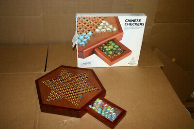 YMI Chinese Checkers Game Set with Glass Marbles and 12.5 Inch Wooden Board