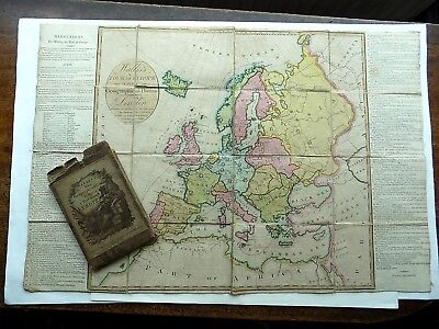 1802 Wallis New Geographical Map Game Tour Europe Old Antique Slipcase SCARCE