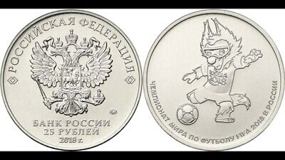 2018 FIFA World Cup Official Blister 2nd Issue Soccer UNC Russia 25 Rubles Coin