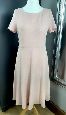M&S Marks And Spencer Pale Pink Dress Size 12 Textured Cap Sleeves Summer