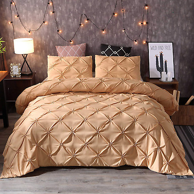 Styho Pintuck Duvet Cover Set 3 Pieces Pinch Pleat Printed Bedding Duver Cover
