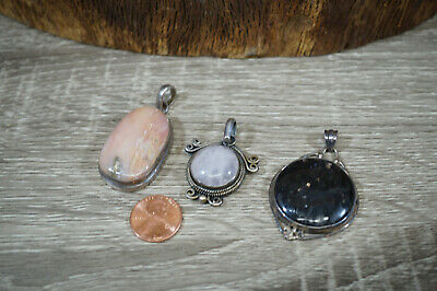 Lot of 3 Vtg Sterling Silver Hand Crafted Pendants Pink Black Stone