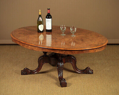 Antique Large Oval Burr Walnut Coffee Table c.1860.
