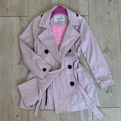 Girls River Island Beautiful Pink Trench Mac Coat Jacket 7 Years