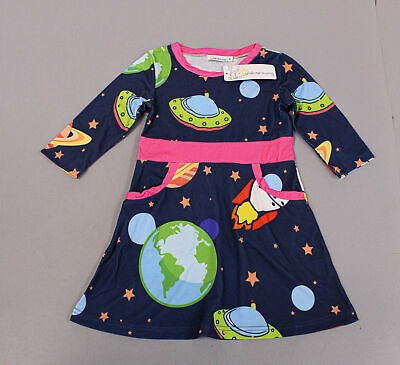 Sunshine Swing Girl's Universe & Spaceship Pocket A-Line Dress CD4 Navy Size 4