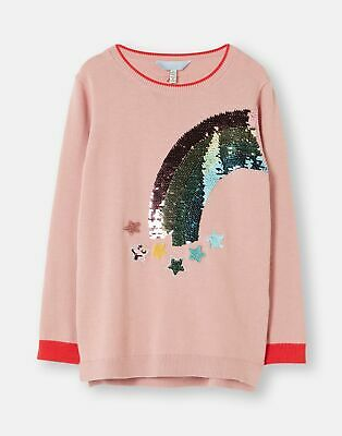 Joules Girls Meryl Intarsia Knit Jumper  - PINK RAINBOW