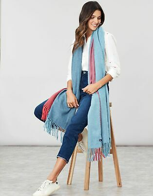 Joules Womens Marlick Wrap Scarf - BLUE CHECK in One Size