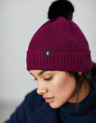 Joules Womens Snowday Lightweight Knitted Hat in BERRY BLUSH in One Size