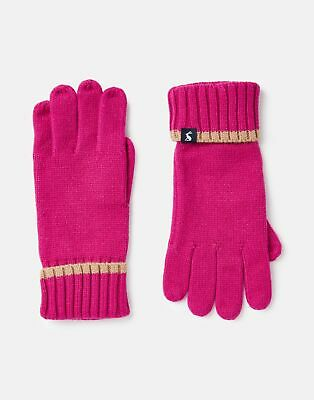 Joules Womens Snowday Knitted Gloves in RUBY PINK in One Size