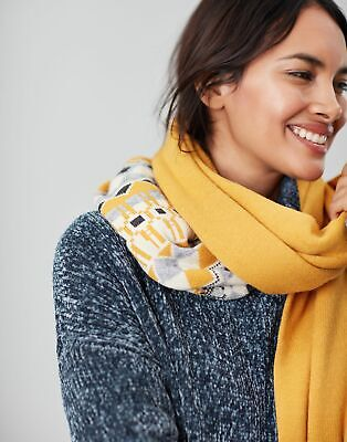 Joules Womens Swirlton Fairisle Knitted Scarf - GOLD FAIRISLE in One Size