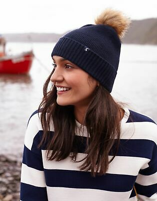 Joules Womens Snowday Lightweight Knitted Hat in FRENCH NAVY in One Size