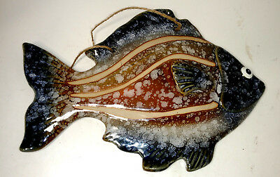 Pottery Wall Hanging  Fish Hand Crafted Unknown Artist 9 1/2 x 6 1/2