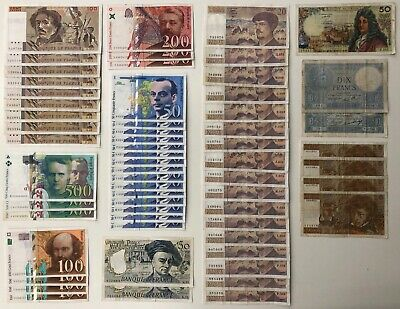 60x Mixed Banknote Collection - FRANCE.  (3179)