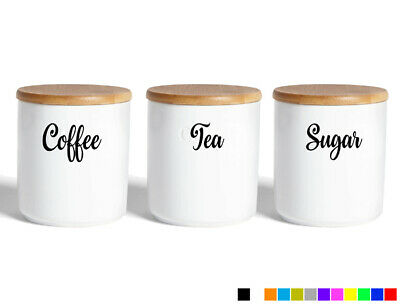 Coffee Tea Sugar Jar Sticker Labels Kitchen Decals Adhesive Canisters