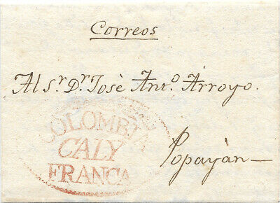 KOLUMBIEN COLOMBIA 1832 CALY FRANCA oval on letter to Popayan full contents