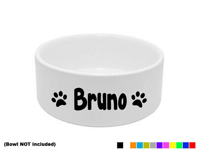 2x PERSONALISED DOG BOWL STICKER DISH CUSTOM PET PUPPY FOOD WATER TREAT