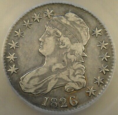 1826 Capped Bust Half Dollar 50c ICG Certified VF25 Nice Original Coin