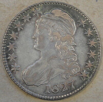 1827 Square Base 2 Capped Bust Half Dollar 50c O-142 R-3 VF/XF