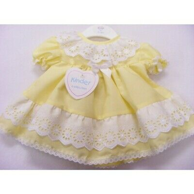 Kinder Baby Girls Spanish Style Romany Lemon & Embroidered Frilly Dress Outfit