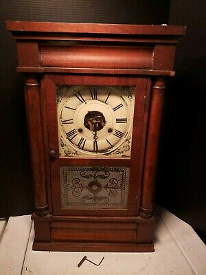 Antique 1850's Seth Thomas Column & Cornice Wood Shelf Clock Time & Strike