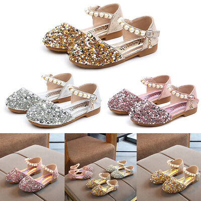 Baby Kid Girl Toddler Leather Sequin Princess Shoes Wedding Party Sandal Shoes