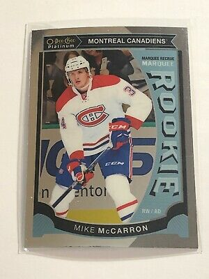 2015-16 OPC PLATINUM MARQUEE ROOKIE CARD MIKE McCARRON M39 - MONTREAL CANADIENS