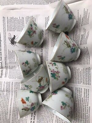 Eight (8)A Set Of Antique Chinese Famille Rose Porcelain Flowers &insect Cups