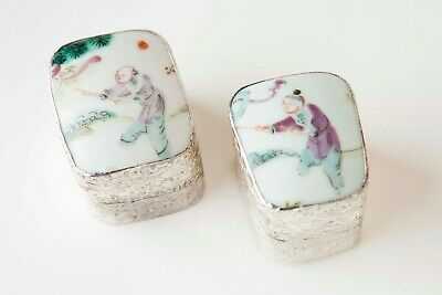 2 Vintage Trinket or Jewelry Boxes Made From A Chinese Antique Porcelain Chard
