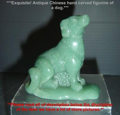Exquisite Antique Chinese Light Green Jade Finely Carved Dog Figurine Sculpture.