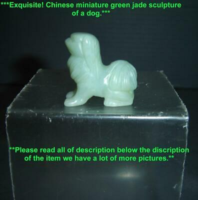 Antique Chinese Light Green Jade Finely Carved Miniature Dog Figurine Sculpture.